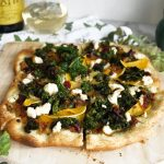 photo of pizza with kale and butternut