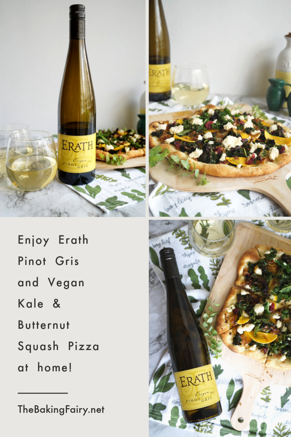 collage of pinot gris and pizza