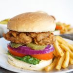 close up of vegan fried chick'n sandwich