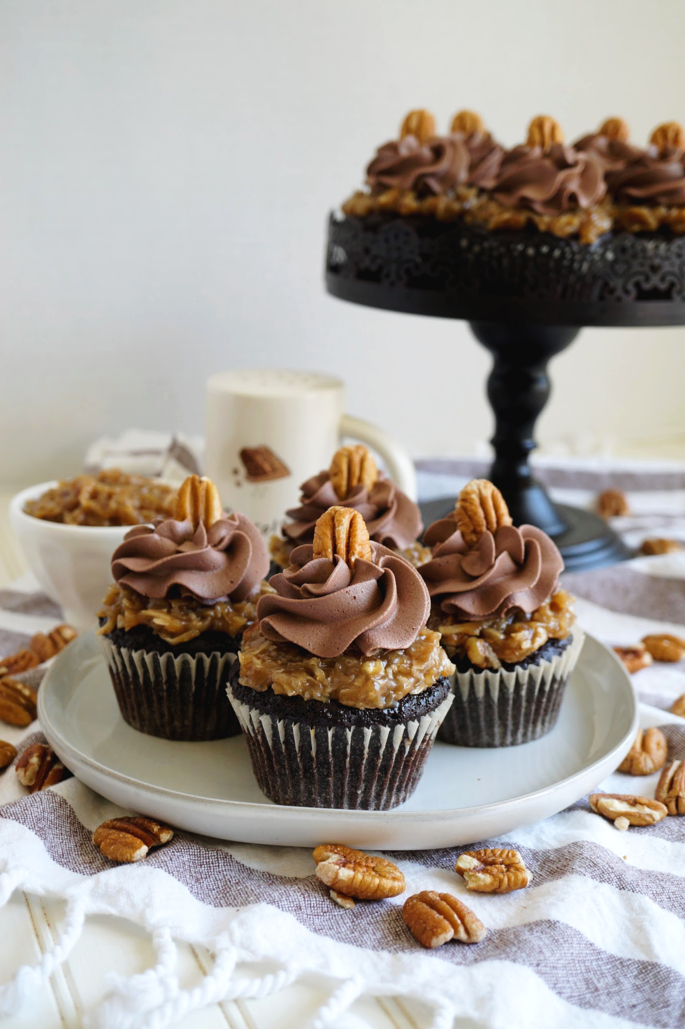 german chocolate cupcakes on a plate