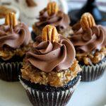 close up of german chocolate cupcake