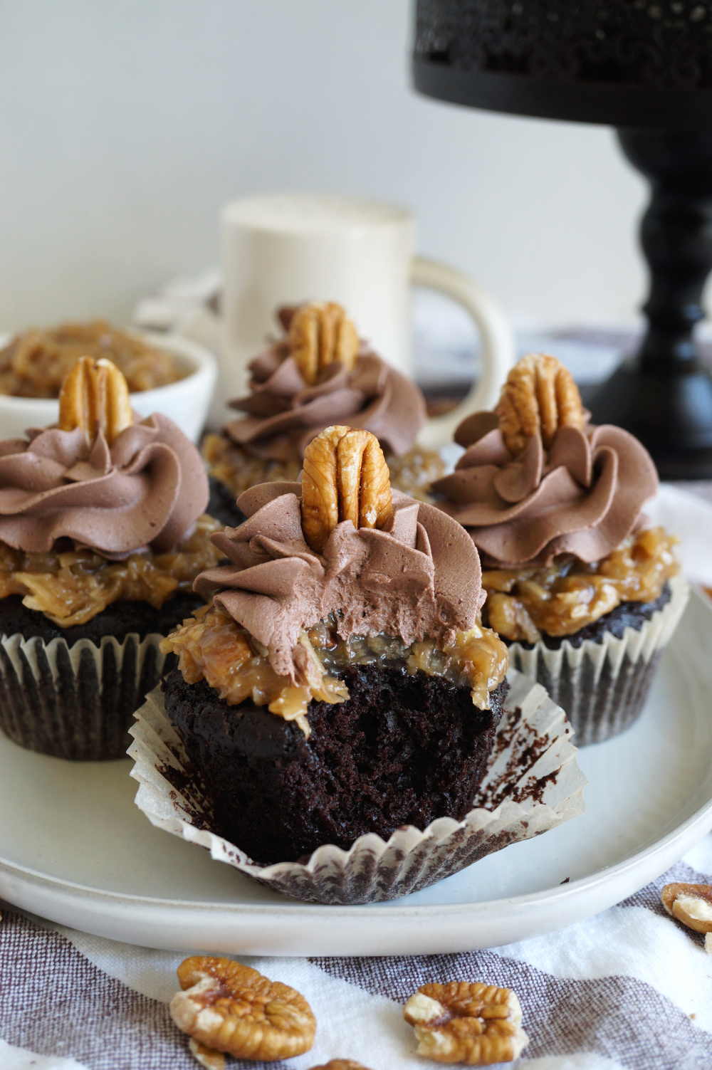 german chocolate cupcake with bite