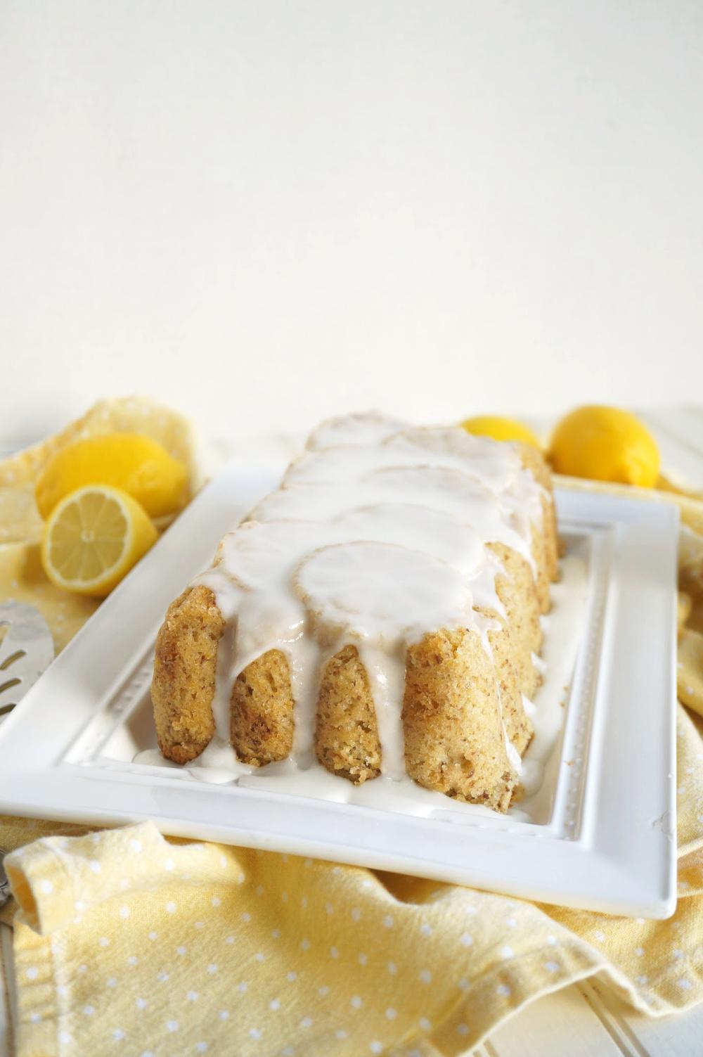 glazed lemon loaf on tray