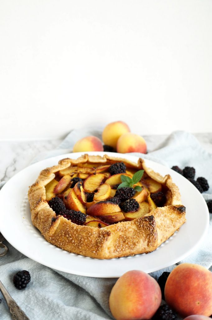 blackberry peach galette on plate