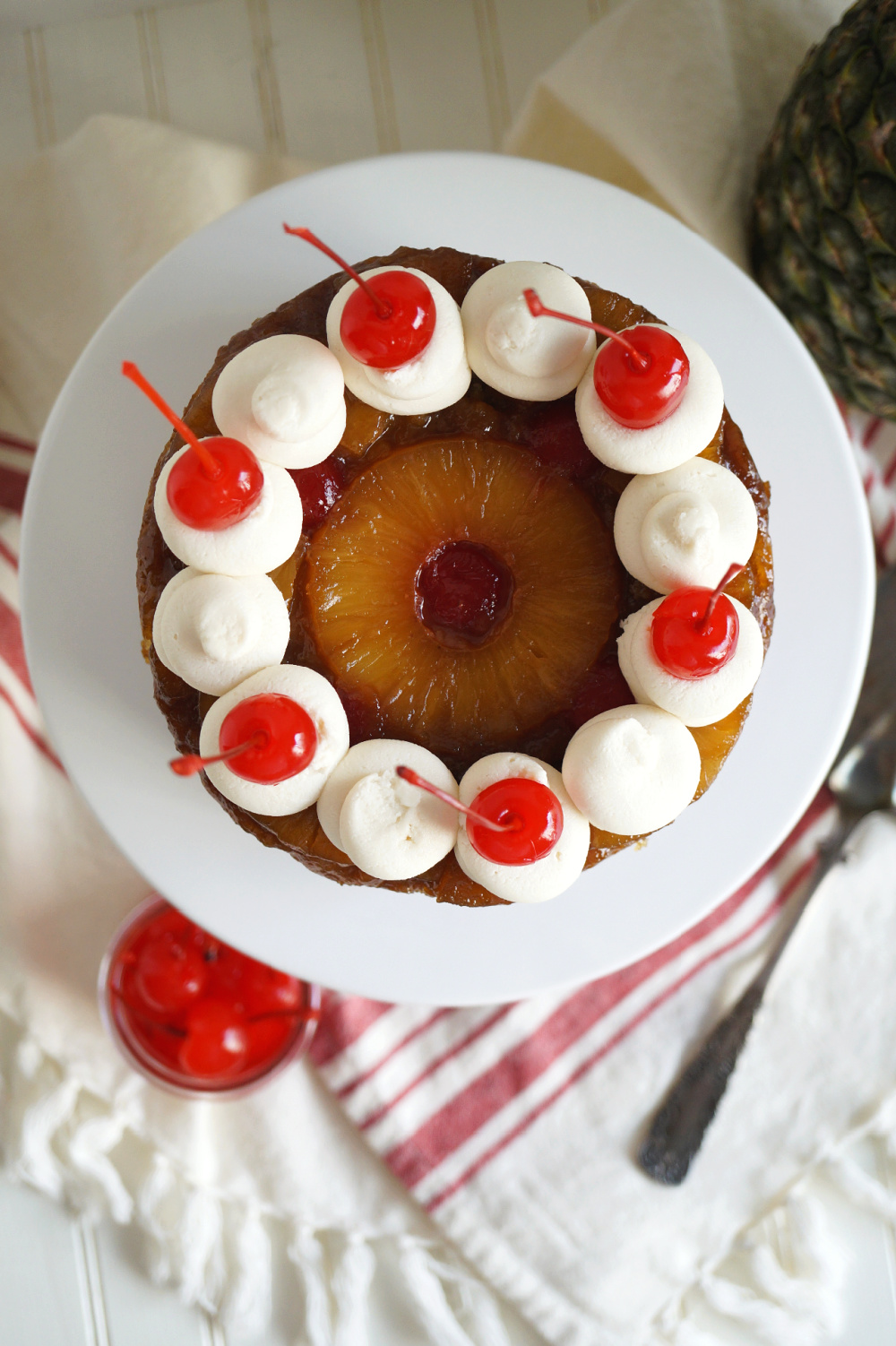overhead view of pineapple upside down layer cake