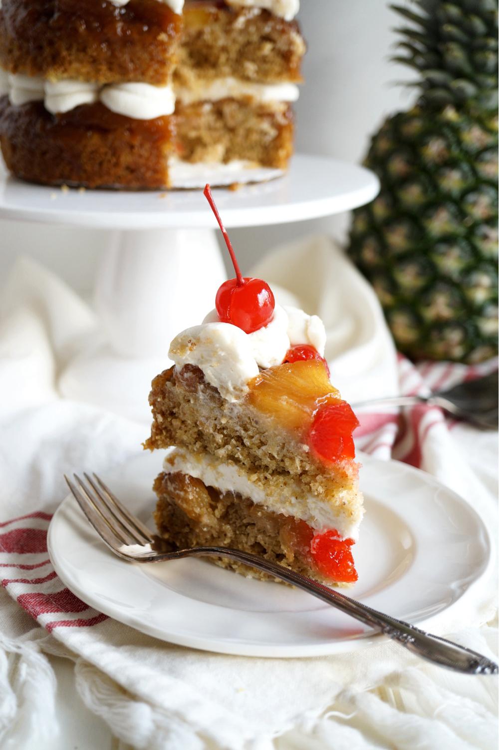 slice of pineapple cake on plate