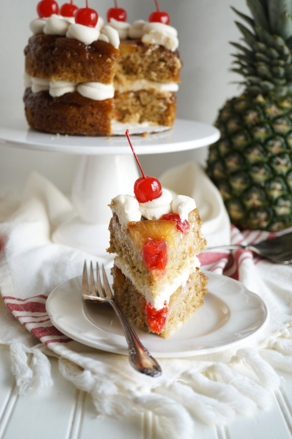 head-on view of slice of pineapple cake