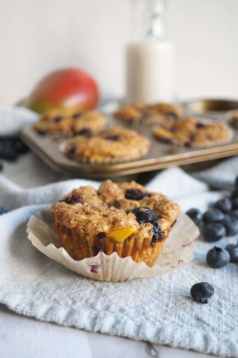unwrapped vegan blueberry mango muffin