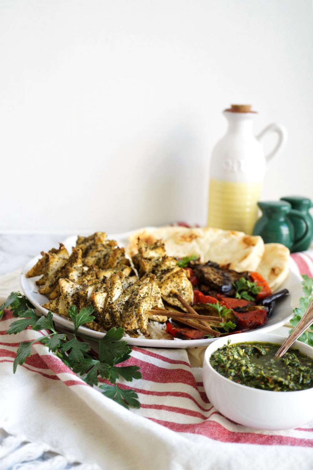 plate of herb tofu skewers