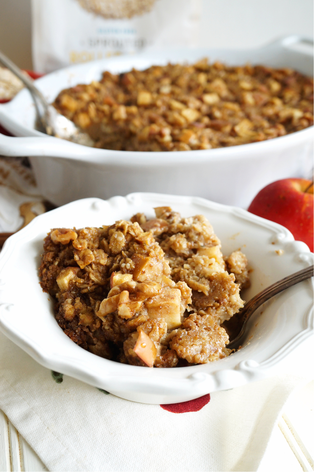 portion of baked apple oatmeal in a bowl