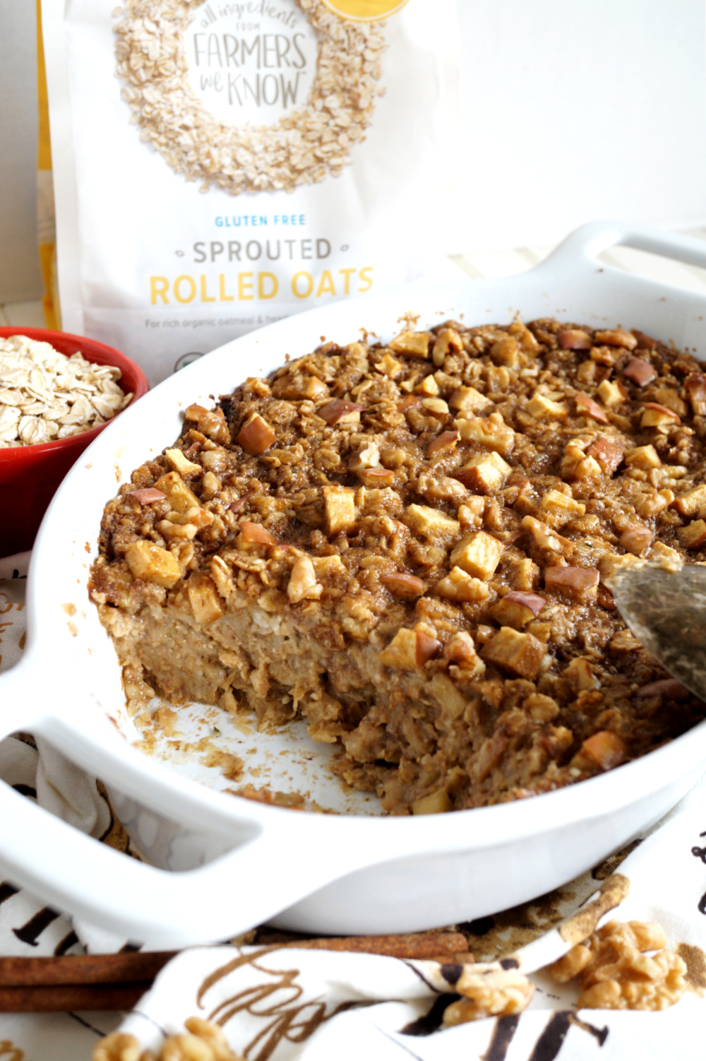 pan of baked oatmeal with portion missing