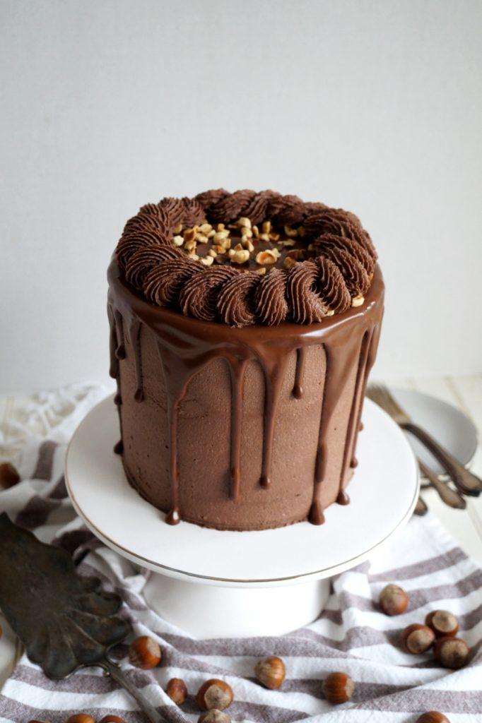 angled shot of chocolate hazelnut cake