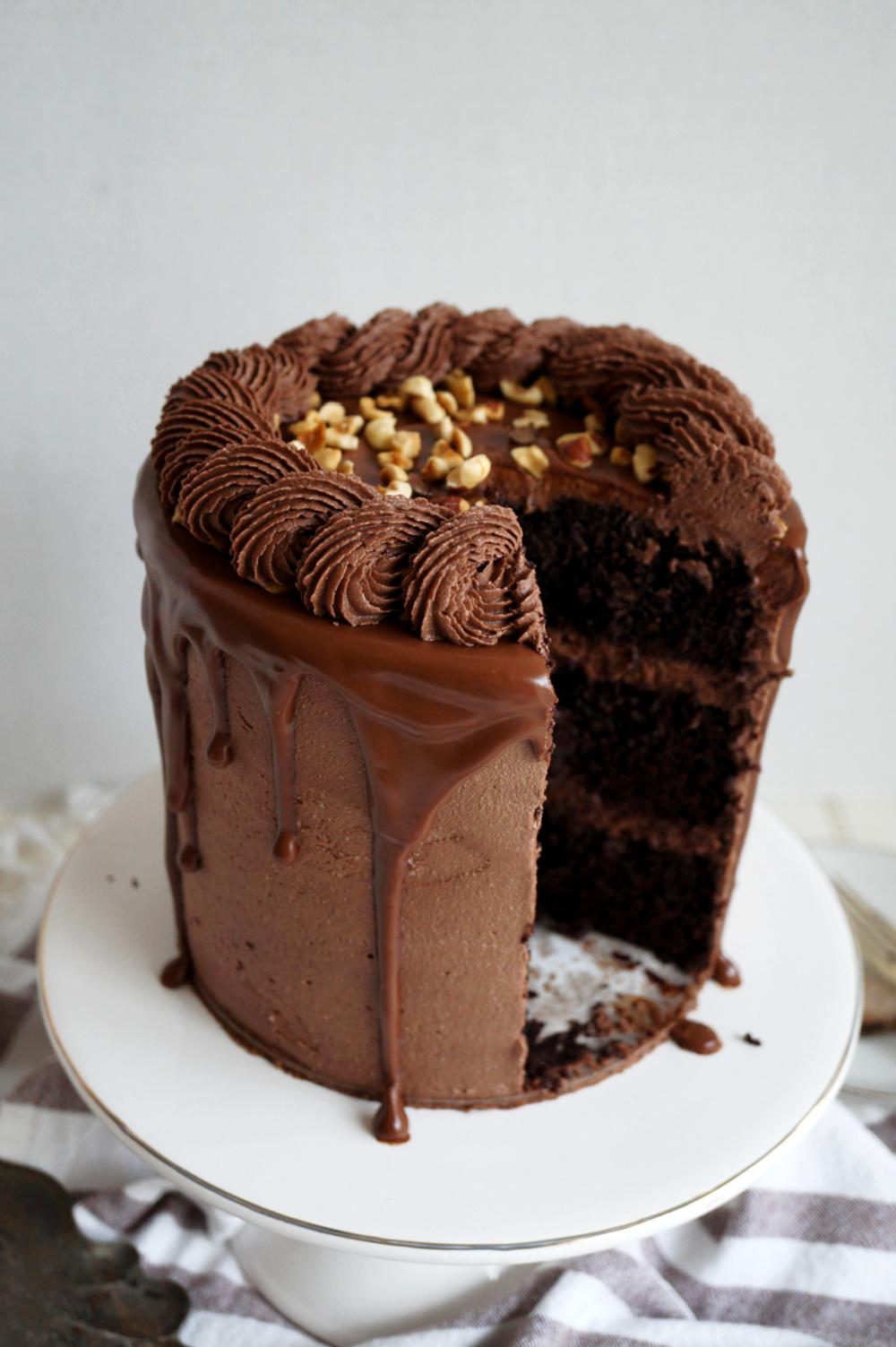 chocolate hazelnut cake with slice cut out