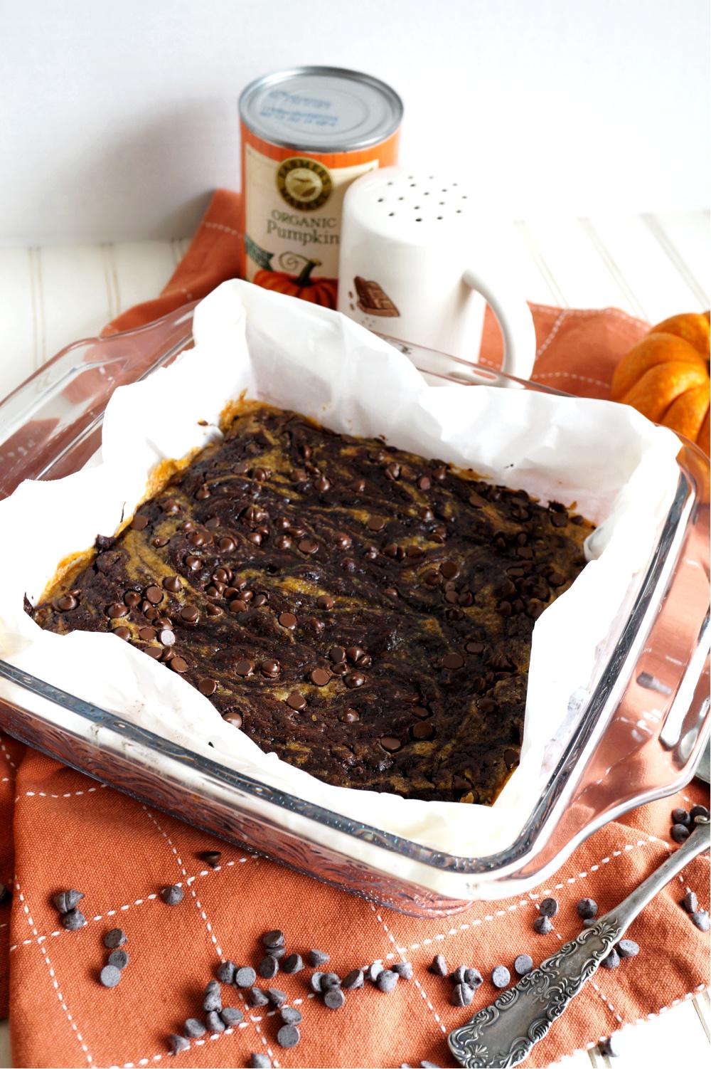 vegan pumpkin swirl brownies in pan