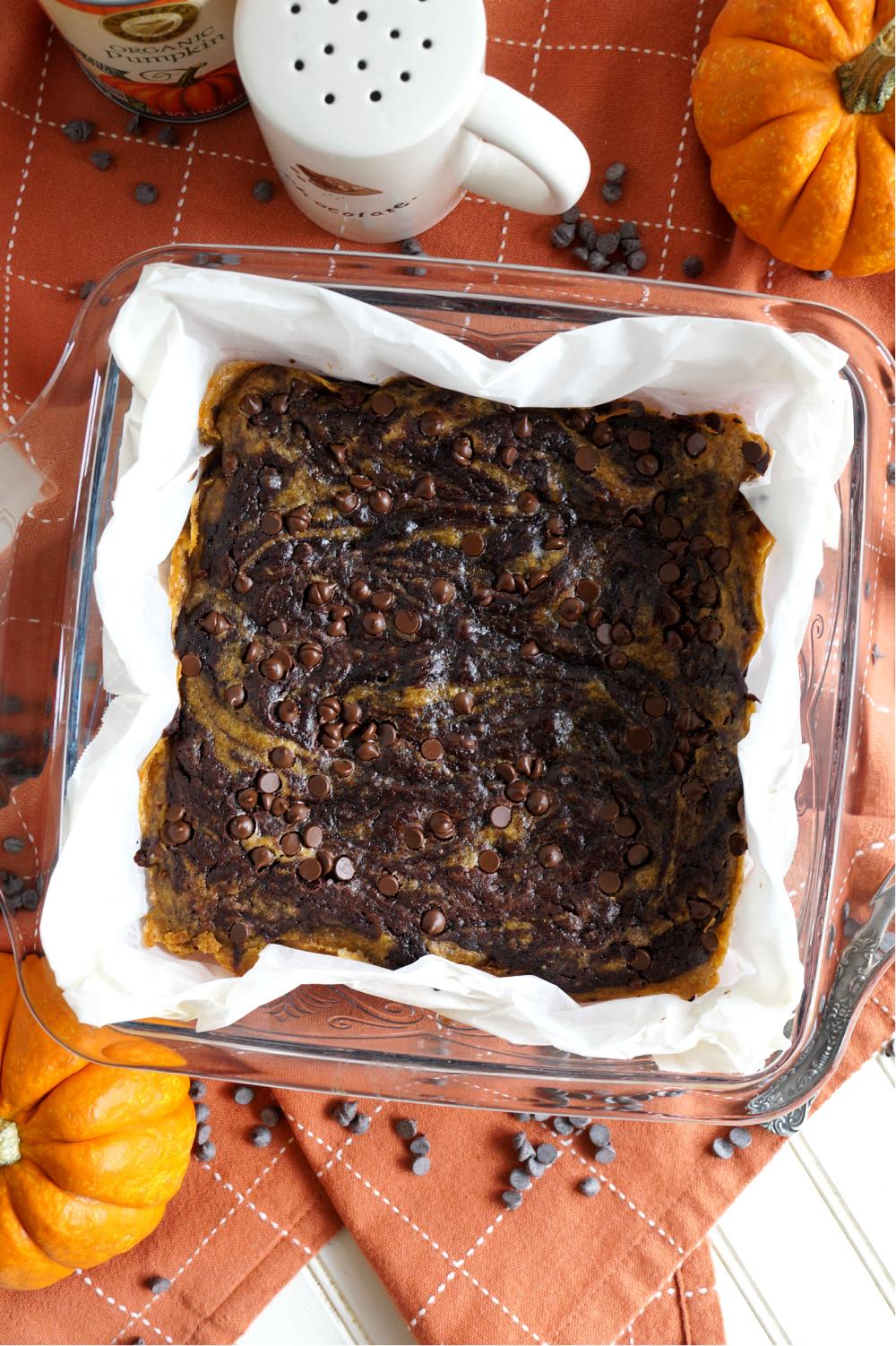 overhead shot of pan of brownies
