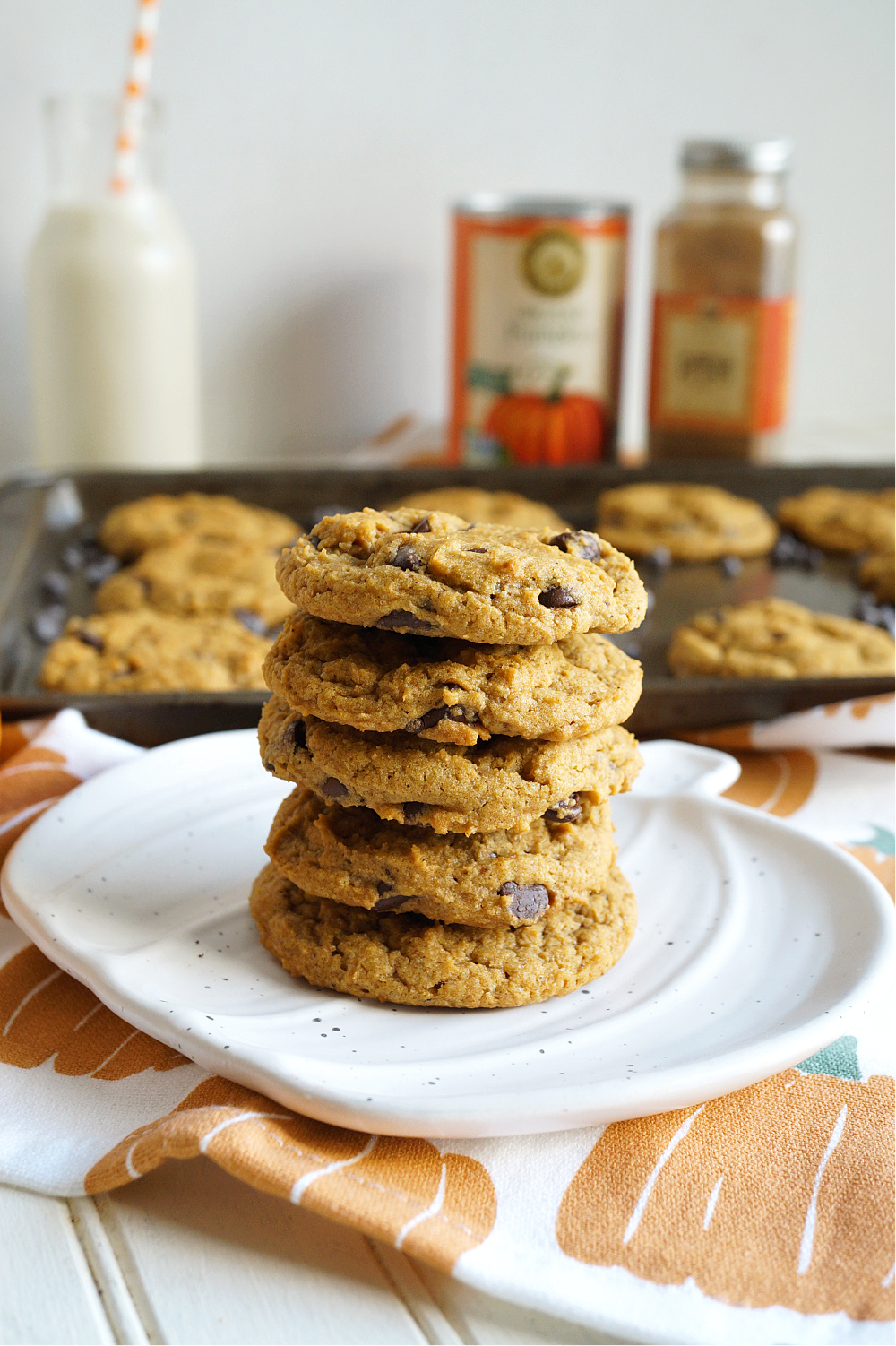 stack of vegan pumpkin chocolate chip cookies on plate