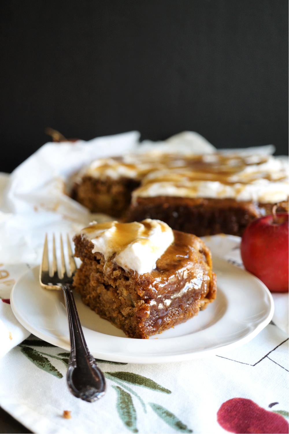 salted caramel apple cake slice on a plate