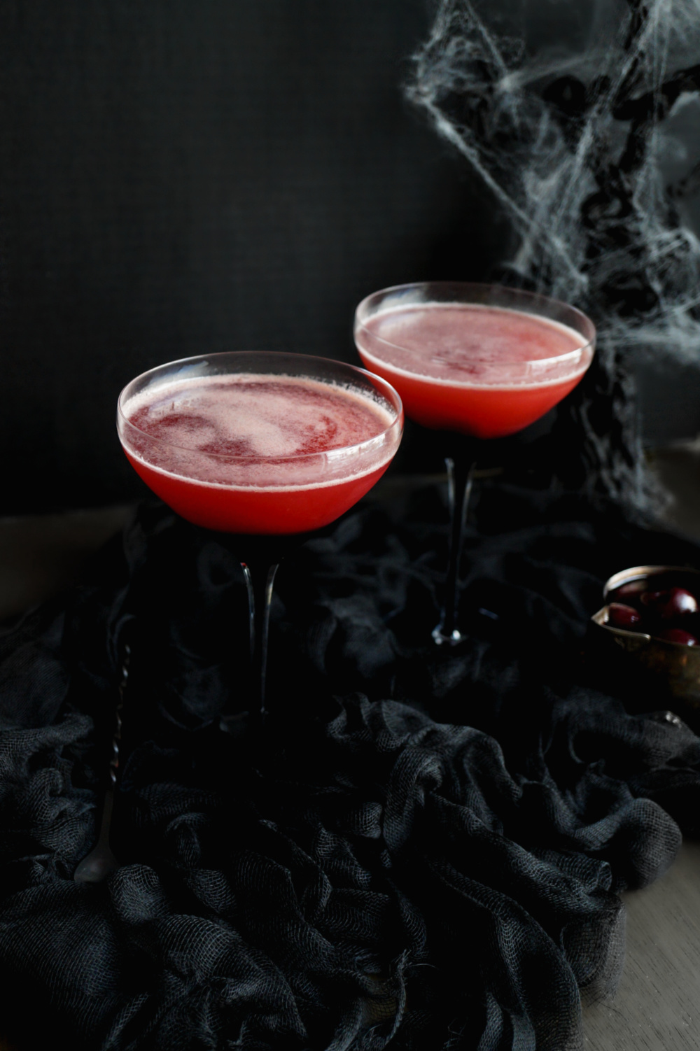 angled shot of Vampire's Kiss cocktail glasses