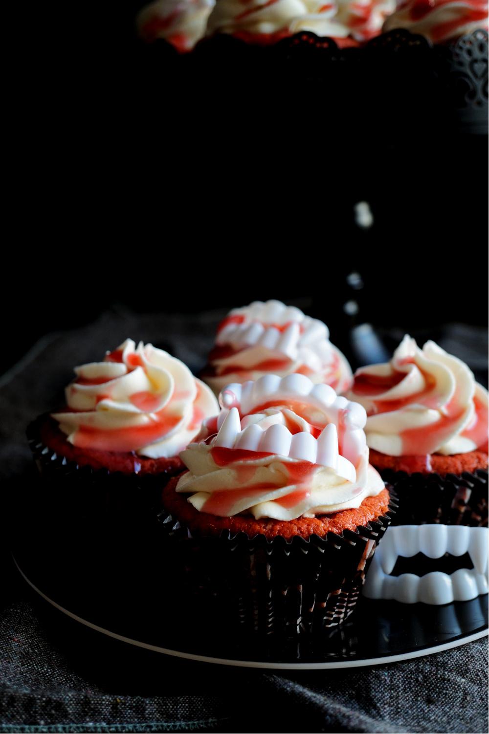 cherry pie vampire cupcakes on a plate