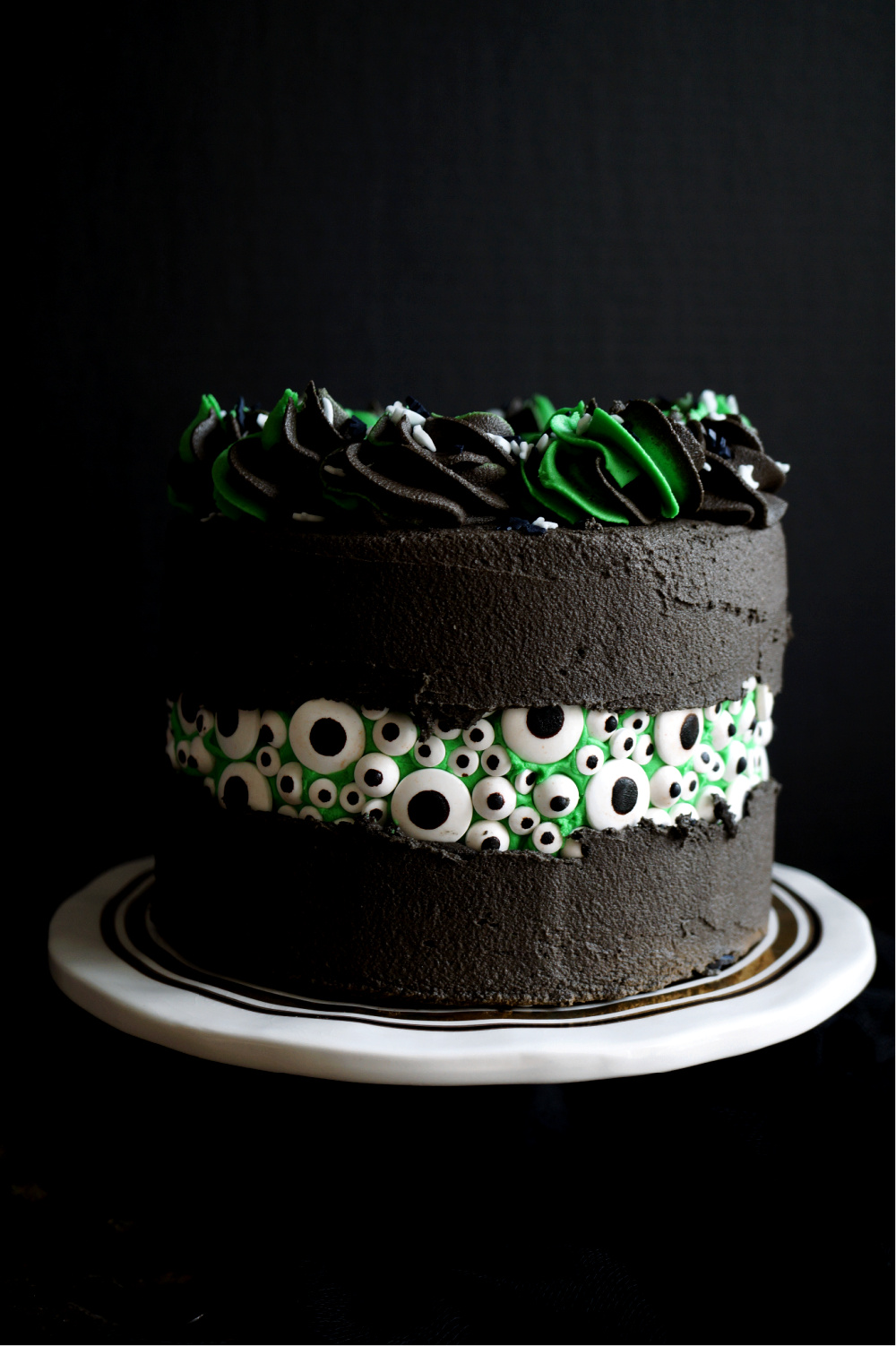 close up of eyeball cake with green and black frosting