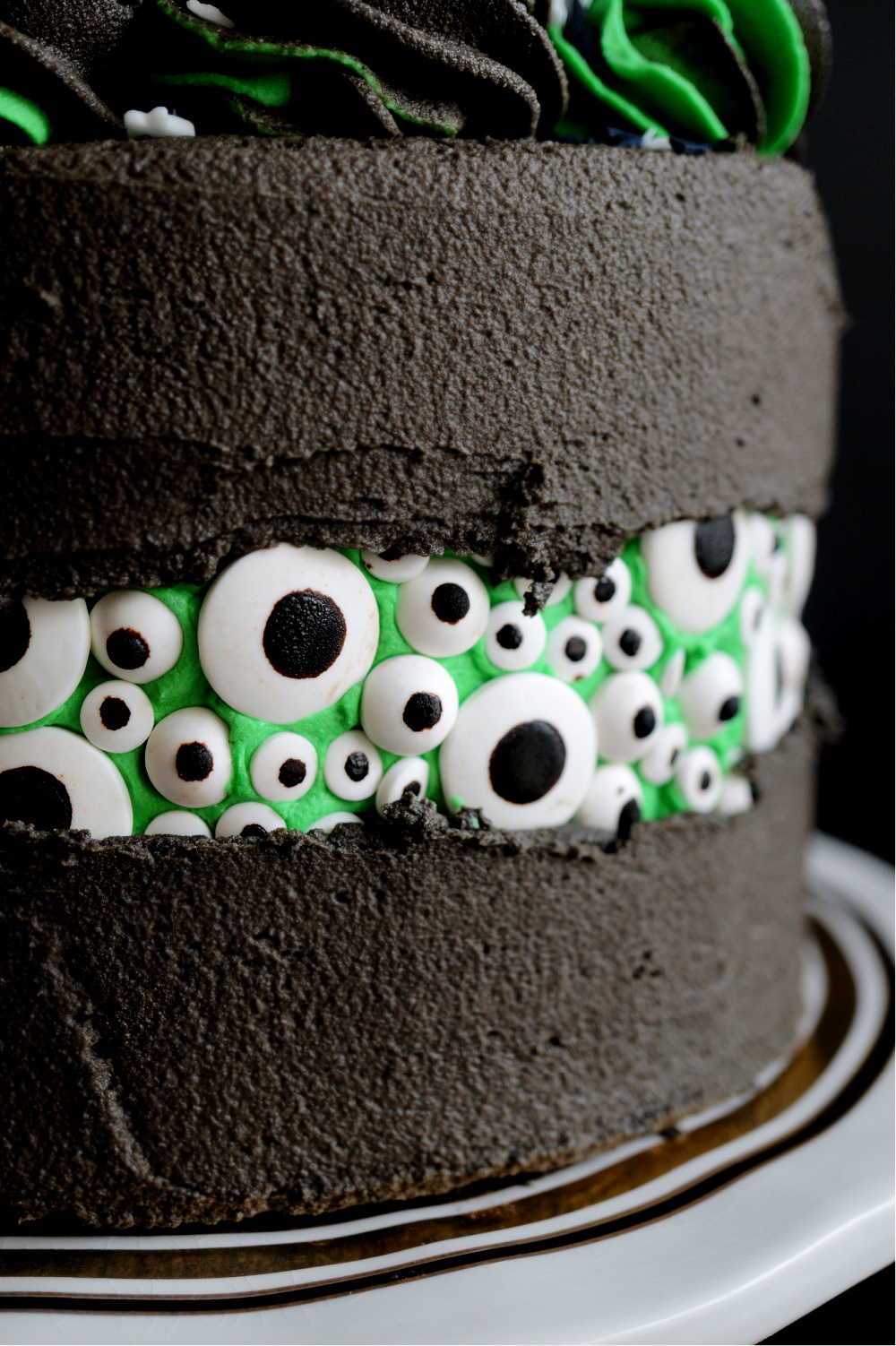 close up of candy eyeballs on side of cake