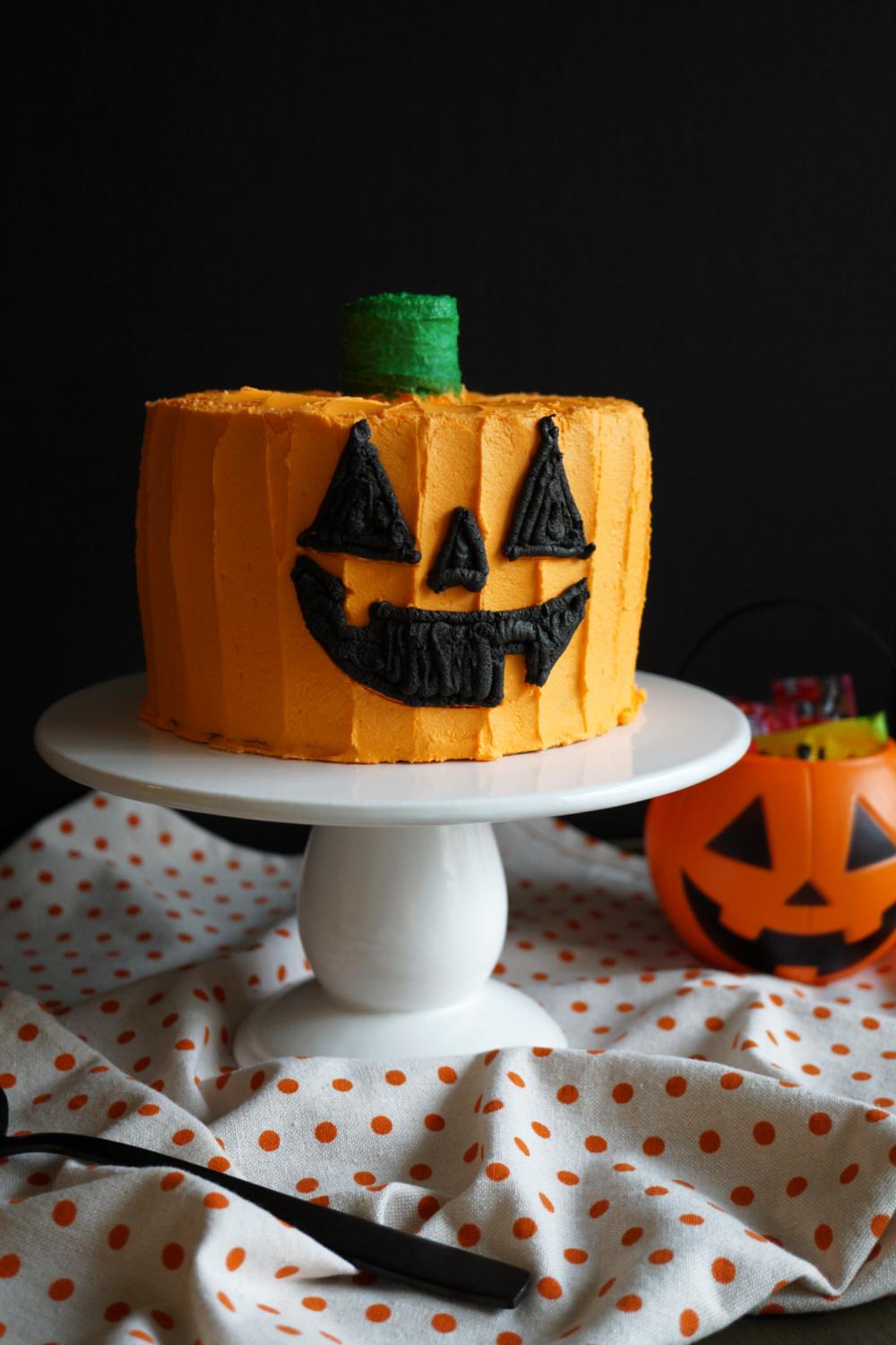 side view of jack o'lantern cake