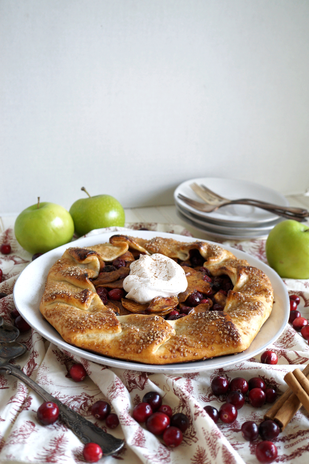 apple cranberry galette on plate with whipped cream