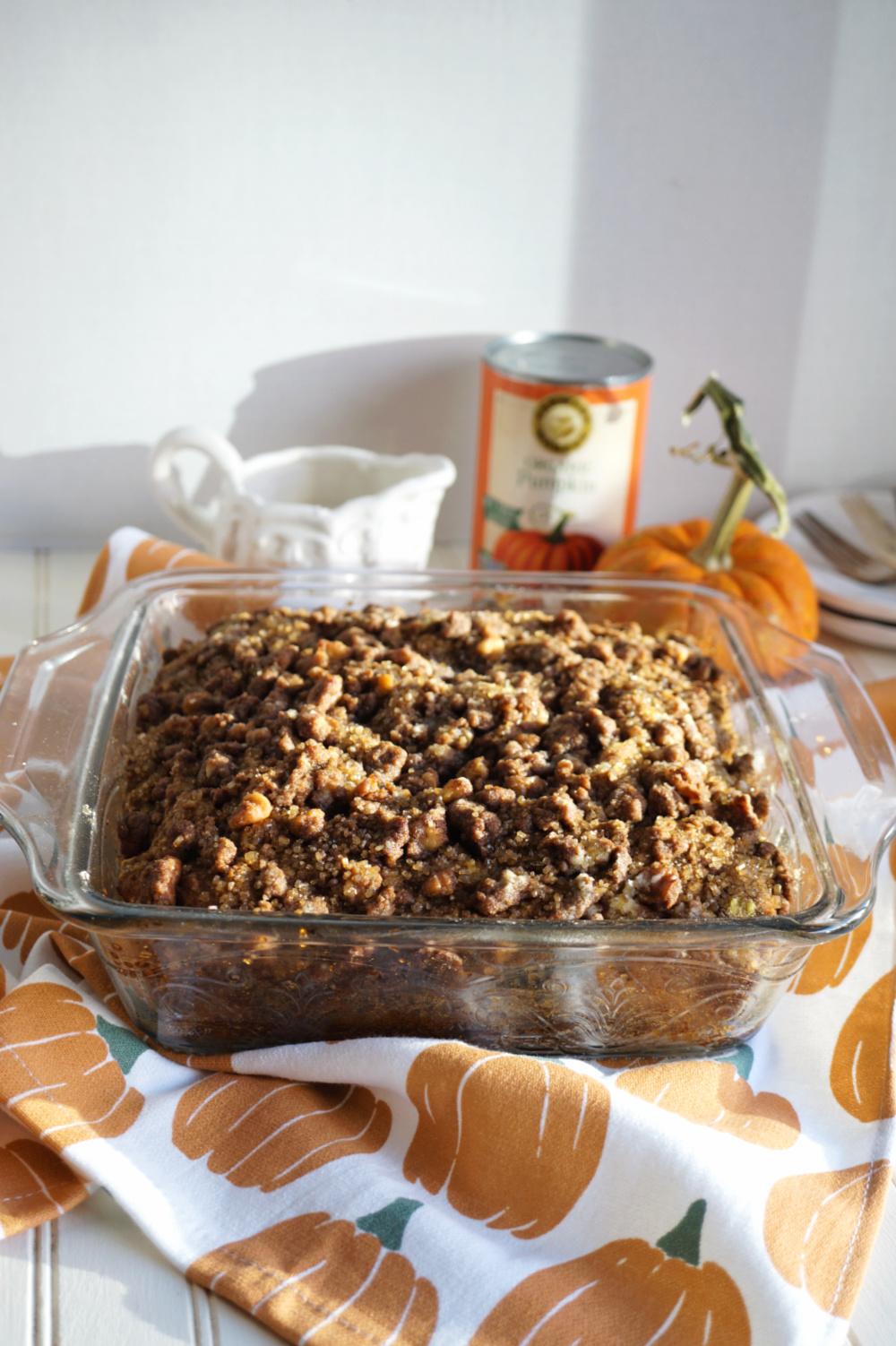 shot of pan of pumpkin coffee cake