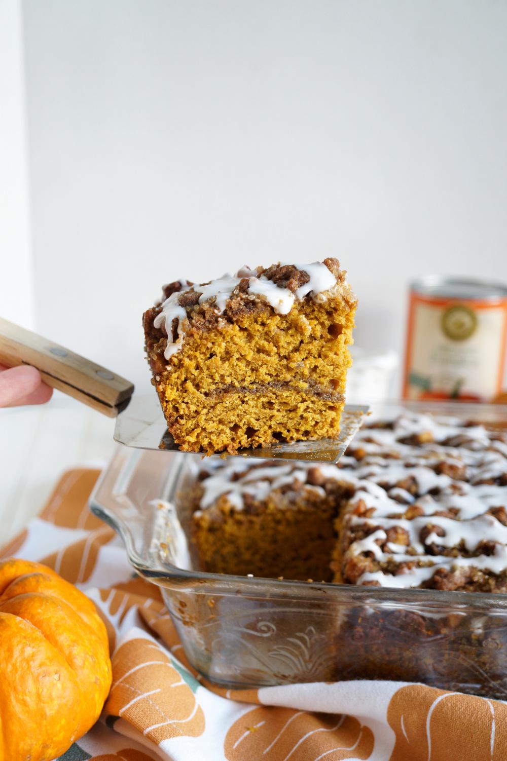piece of pumpkin cake on spatula