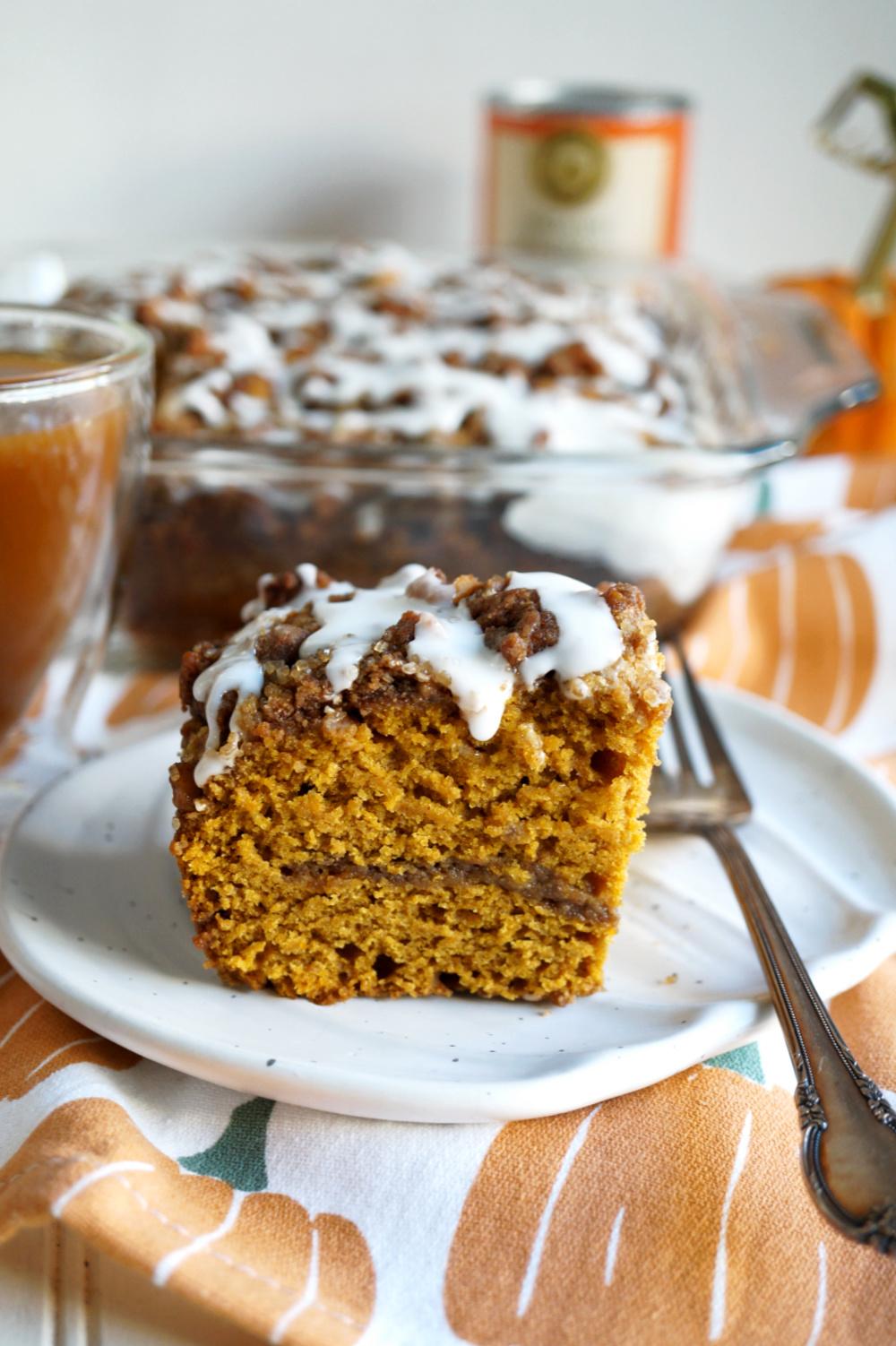 piece of pumpkin coffee cake on plate