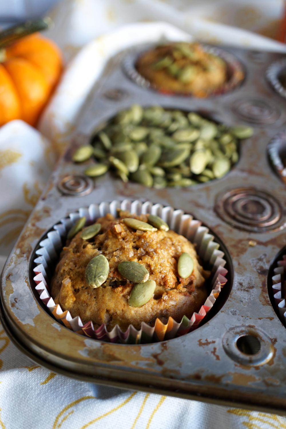 pumpkin muffin inside muffin tin