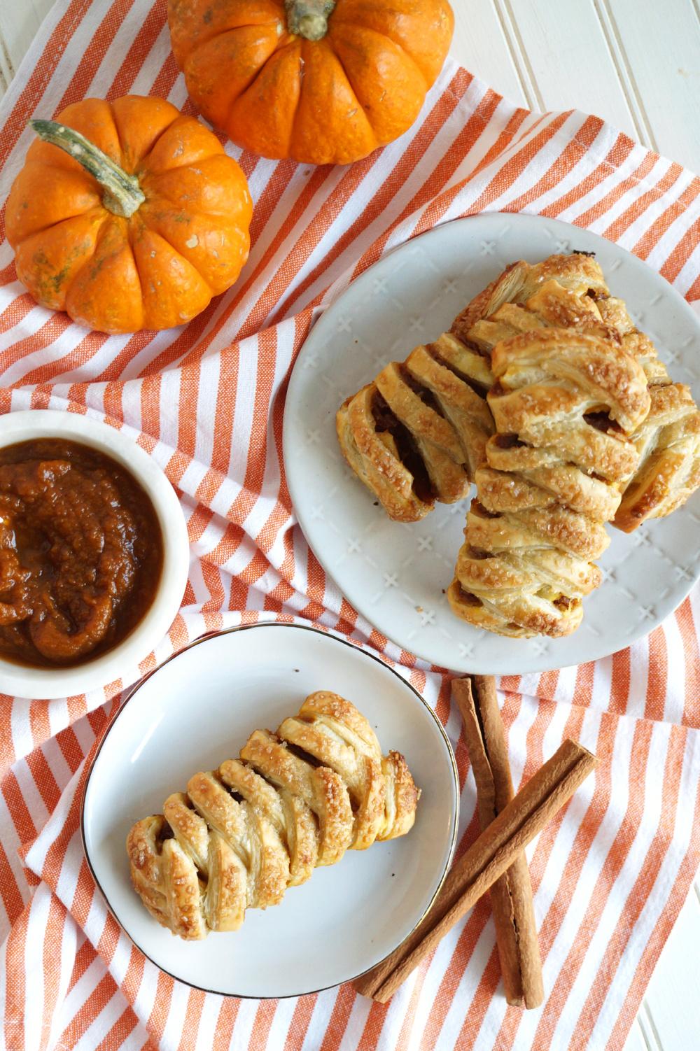 overhead shot of pumpkin butter braids
