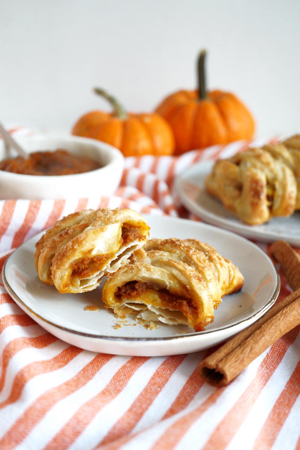 pumpkin butter puff pastry braid in half