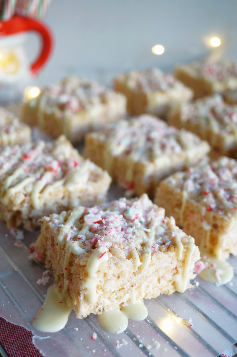 rice krispie treats on cooling rack