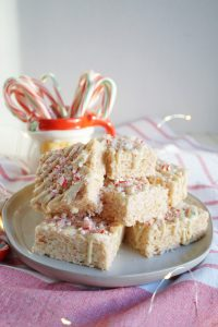 plate of candy cane rice krispie treats