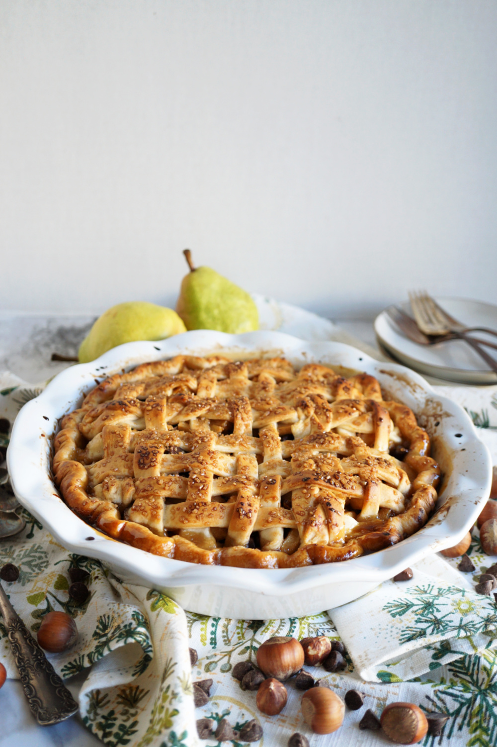 latticed pie in white dish