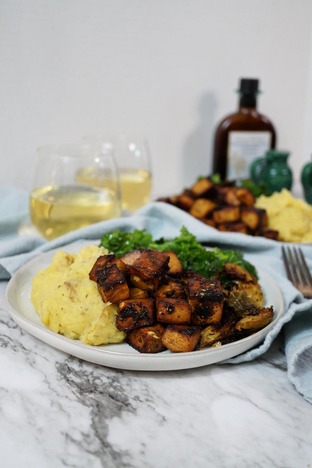 plate of balsamic tofu with mashed potatoes and veggies