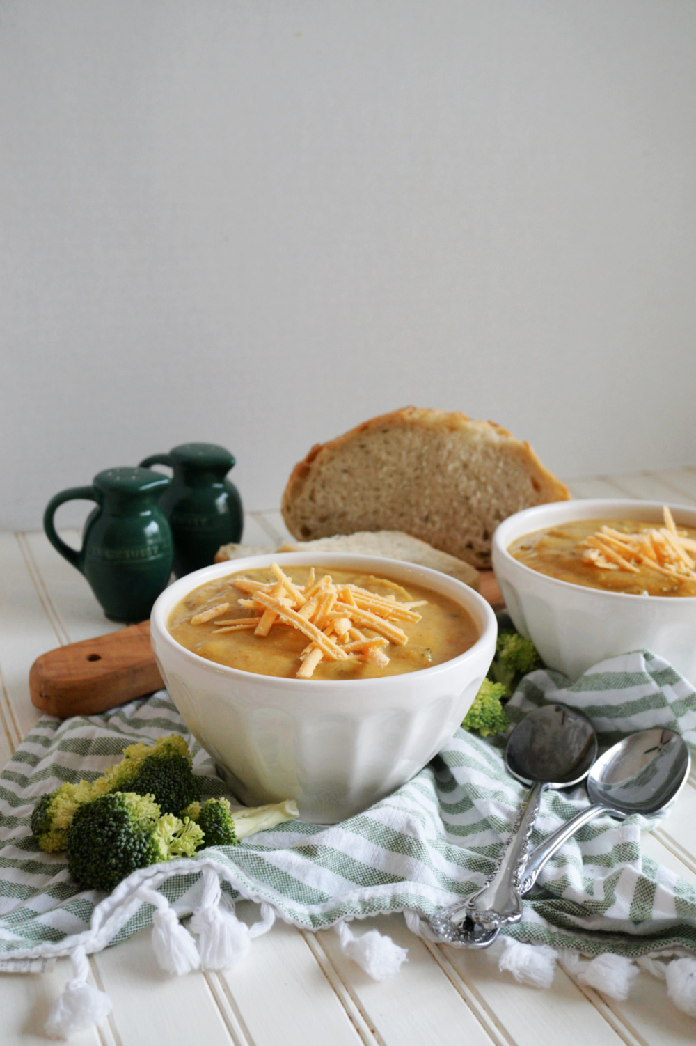 bowls of broccoli cheese soup