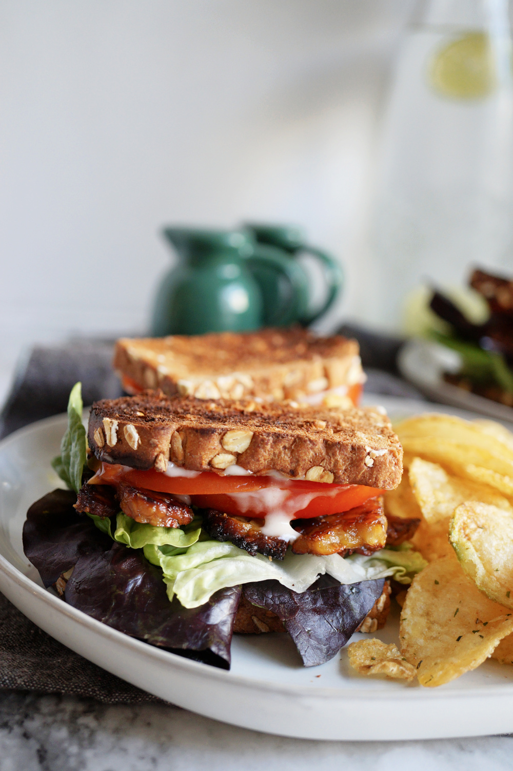 detailed close up view of BLT sandwich