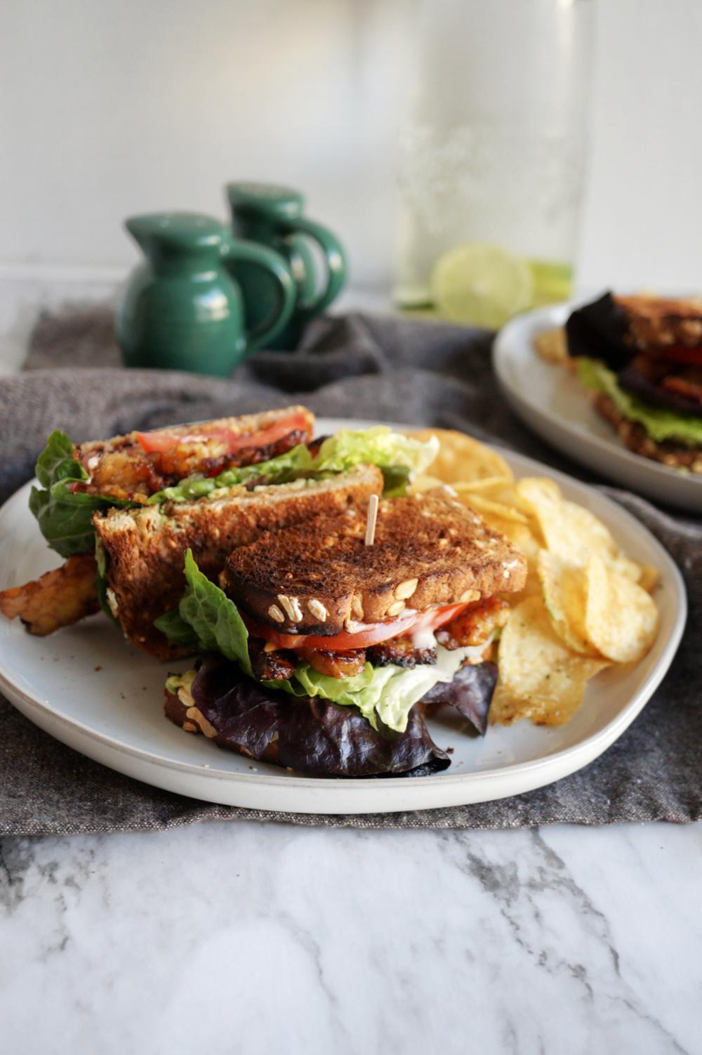 sandwich cut in half on plate