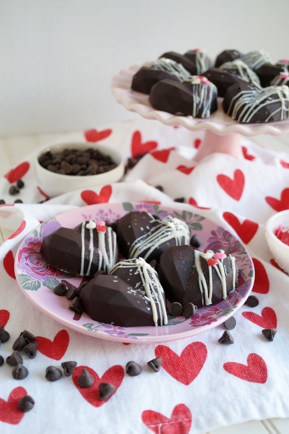 plate of heart shaped chocolate cake gems