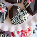 overhead shot of a chocolate heart cake gem