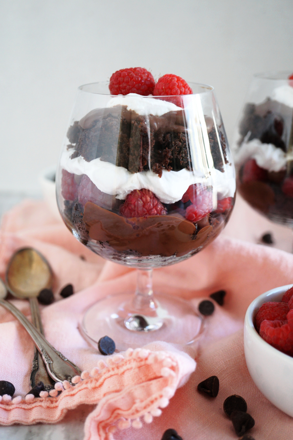 glass of raspberry and chocolate cake parfait