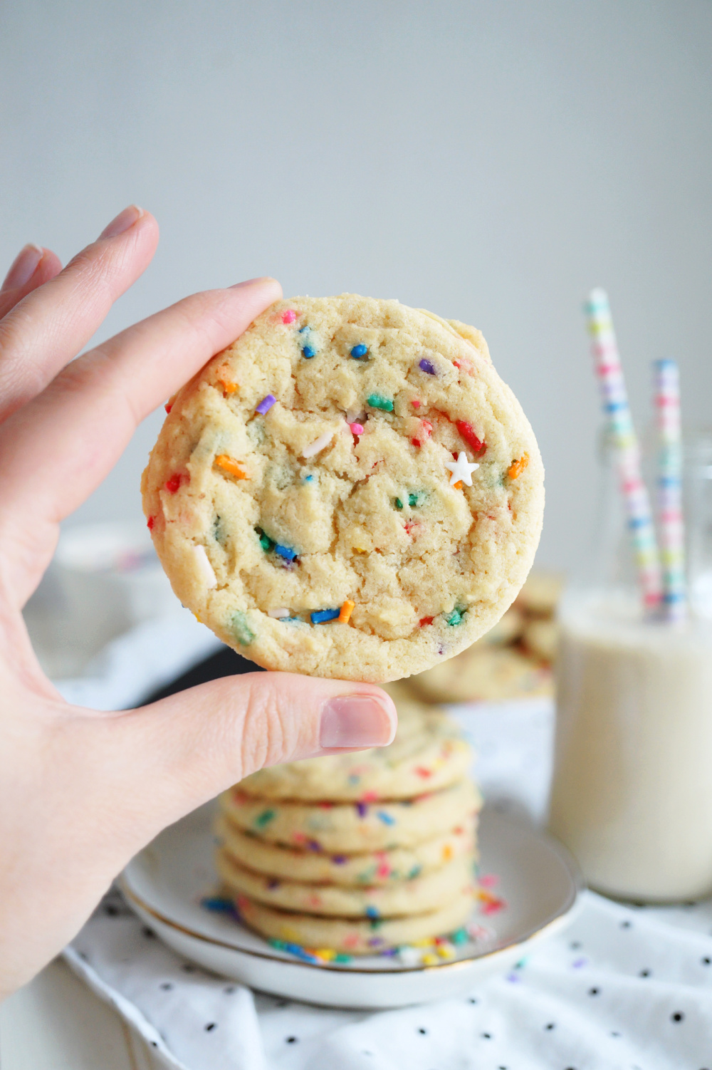 hand holding up a confetti cookie