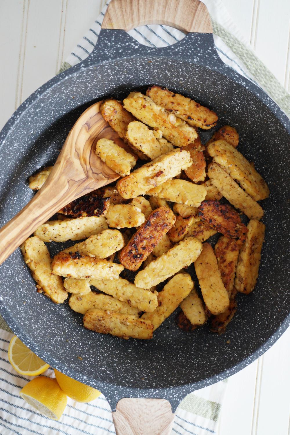 cooking pan of tempeh strips