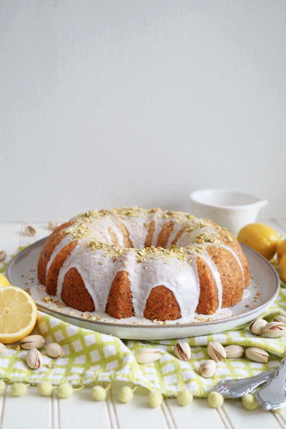 lemon pistachio bundt cake with white glaze
