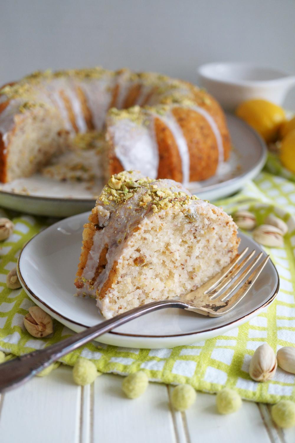 slice of lemon pistachio bundt on plate