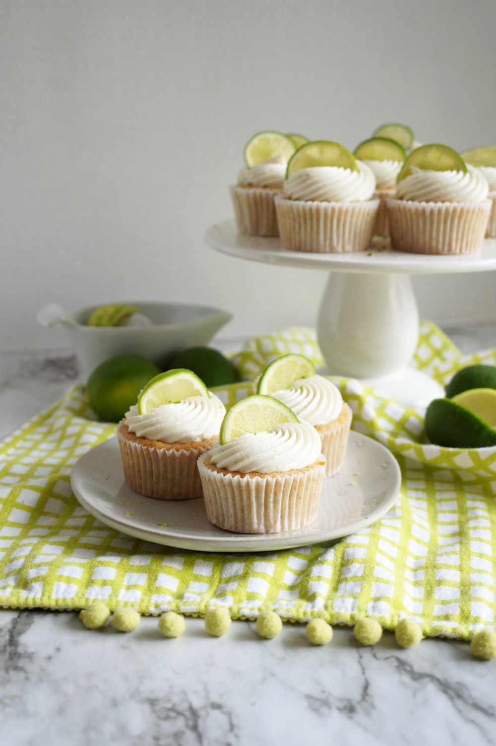 key lime cupcakes on a plate