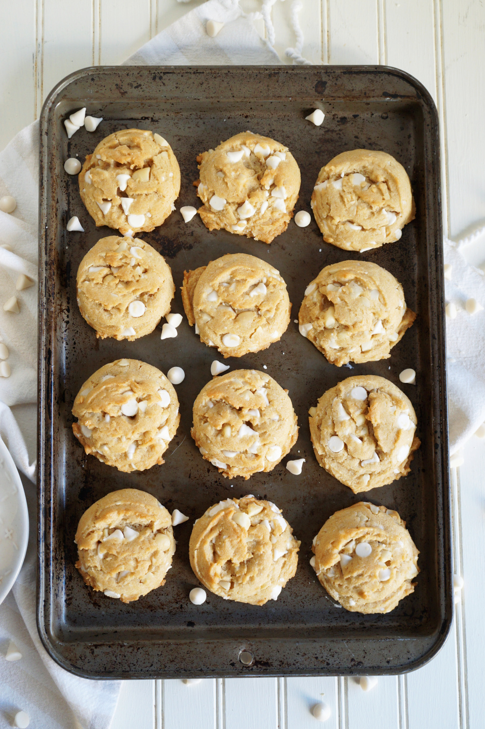 overhead shot of white chocolate macadamia cookies