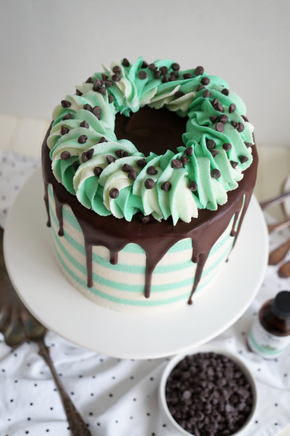overhead view of mint chip cake
